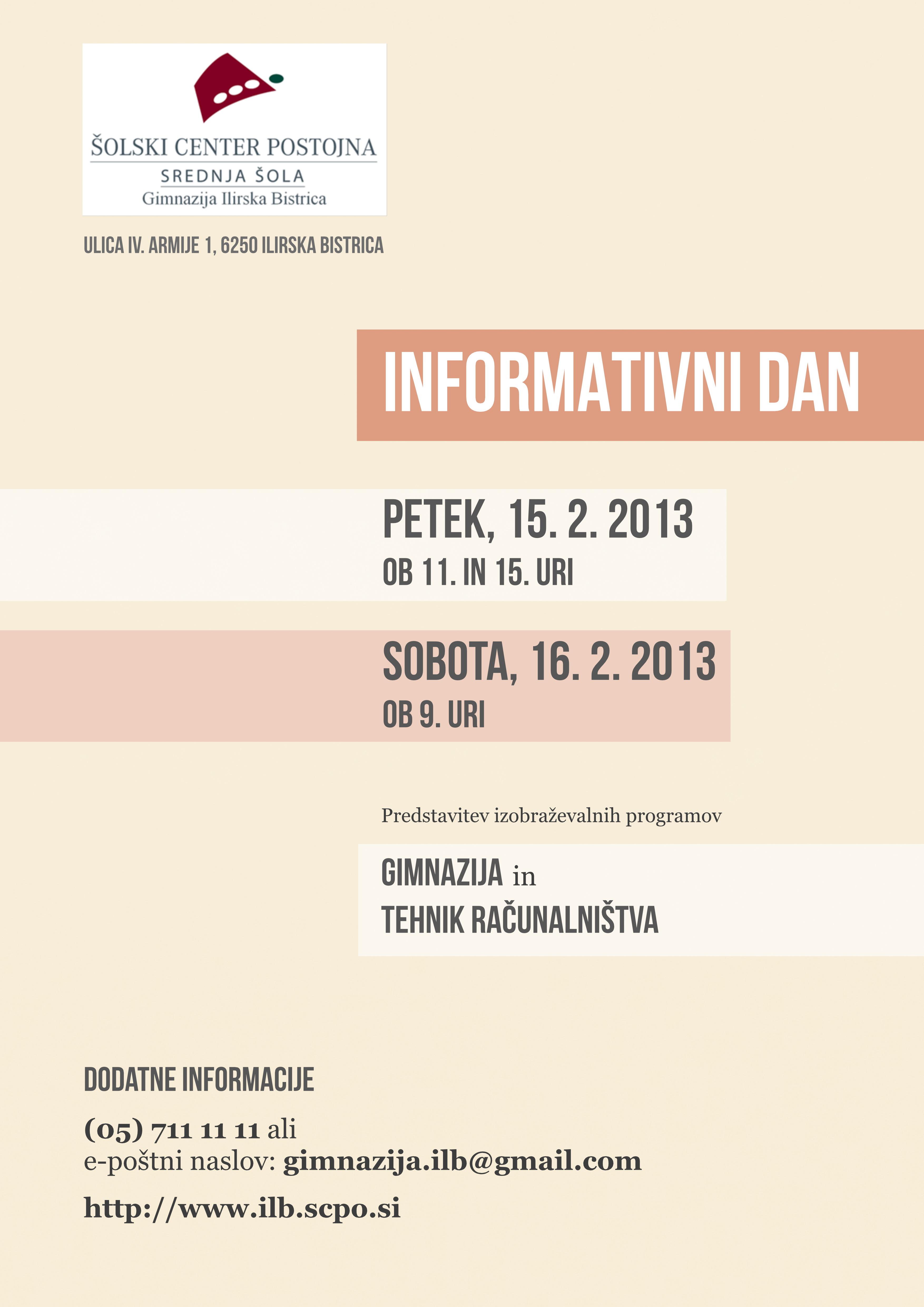 Plakat InfoDan GIMIB 2012-13
