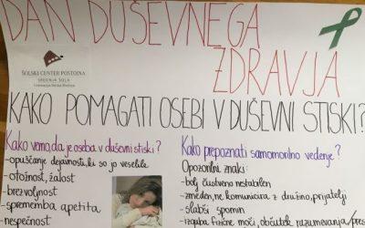 Obeležitev svetovnega dne duševnega zdravja na Gimnaziji Ilirska Bistrica
