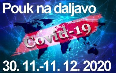 Izvajanje pouka na daljavo, 30. 11.-11. 12. 2020