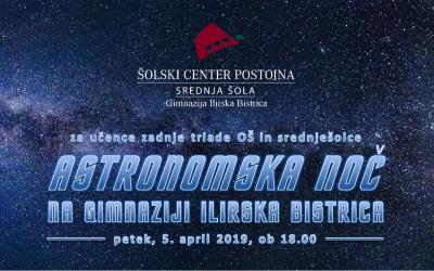 Astronomska noč na Gimnaziji Ilirska Bistrica za osnovno- in srednješolce