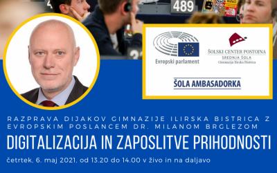 Razprava dijakov Gimnazije Ilirska Bistrica z evropskim poslancem dr. Milanom Brglezom